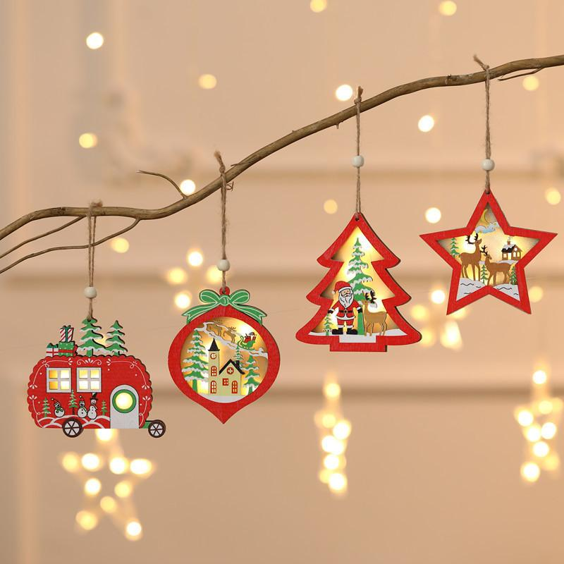 Christmas Lighted Wooden Ornament Hollow Wooden Glitter Pendant Xmas Tree Car Tree Star Shaped Pendant with LED Light DWC1149
