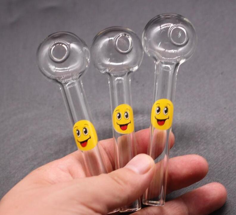 Lächeln Logo Pyrex Kawumm Ölbrenner Glas Löffel Rohr Lustige Hand Glas Rauchpfeifen freies Verschiffen Rauchutensil GD15