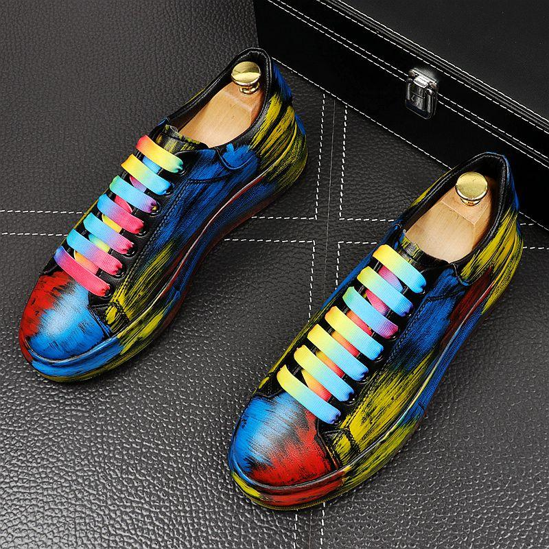 Новая мужская мода хип-хоп граффити шнурках британского стиля Man трендовом ДОСУГ кроссовки веб знаменитости Zapatos Hombre vestir
