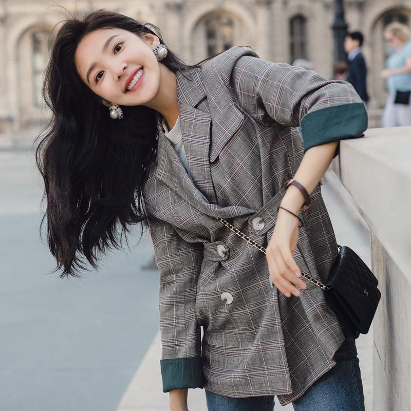 chic per le donne primavera e l'autunno del vestito di modo plaid 2020 nuovi peixiuzhi sciolti stile coreano stessa piccola vestito scozzese