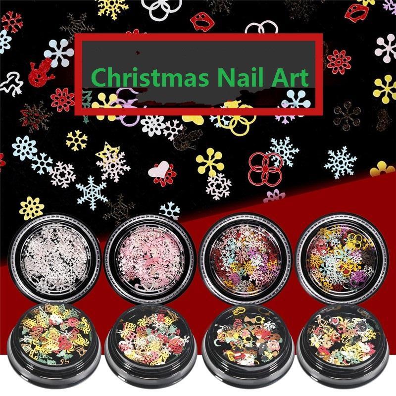 1 box nagel pailletten schneeflocken weihnachtsdekoration glänzende glitter designs gemischte farben 3d aufkleber für nail art manicure