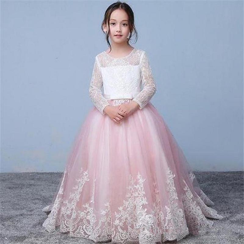 Prinzessin SpitzeApplique Blumenmädchenkleider Lange Hülse Erstkommunion Kleider Hochzeit Kleider Formal mit Festzug-Kleid