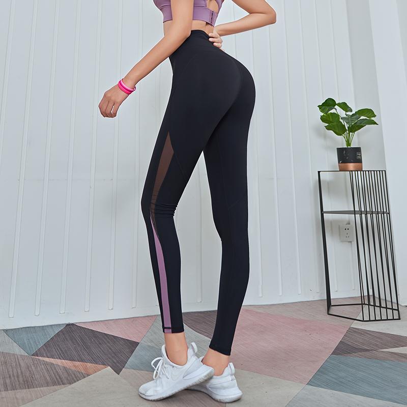 Lusure йога брюки женские летние бедра быстросохнущие брюки гимнастики дышащие колготки персик сетки спортивные брюки