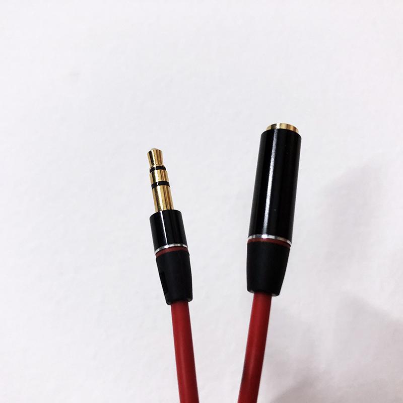 3.5mm Audio cavo compatibile per Monster maschio a femmina Audio cavo di prolunga del cavo oro placcato cavo ausiliario da 1,2 m Rosso