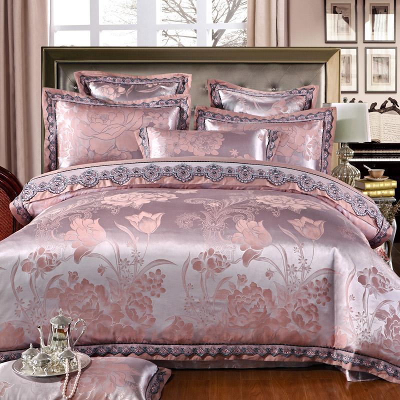 Ivarose Luxury Jacquard Silk Bed Linen, Gold Satin Bedding