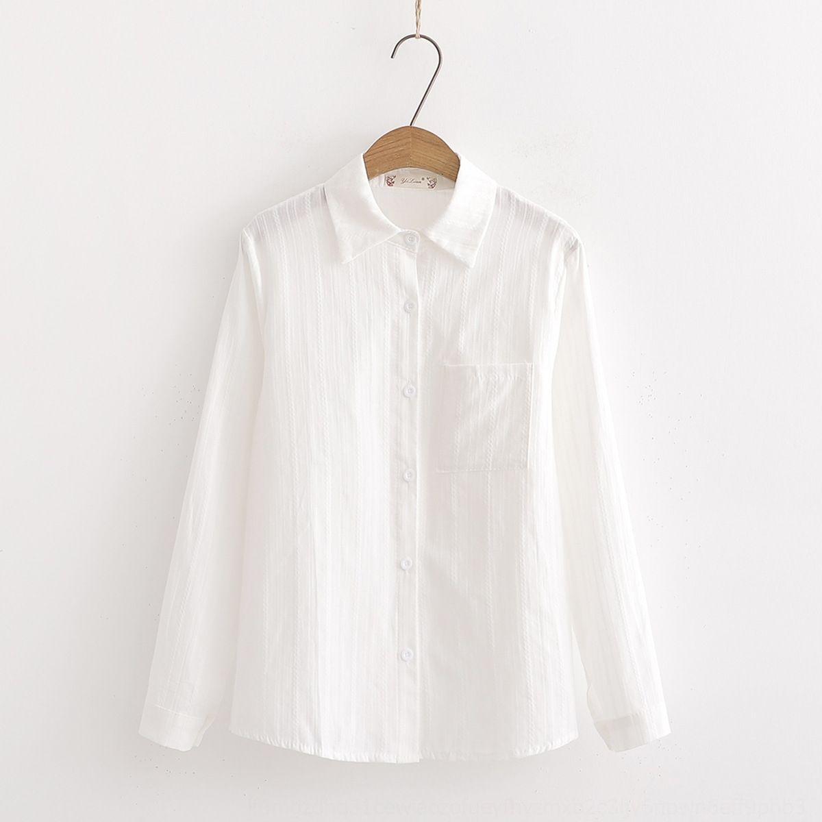 Хлопок белого белья женщин и Top белой рубашки осень 2019 кармана двойного нового дизайна чувство сверху рыхлое похудение рукав длинного отворот рубашка 3MENS