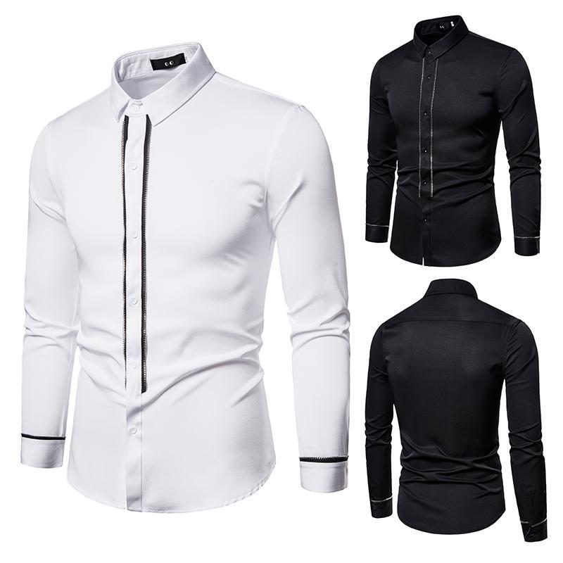 Nouveau Casual Couleur unie Chemise à manches longues Slim Top Fashion pied de col D441 de la mode Hommes Printemps et Automnes hommes