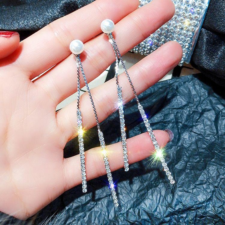 925 agujas de plata larga borla del diamante de la perla de doble cara con la perla del todo-fósforo sencilla de diamantes pendientes damas pendientes
