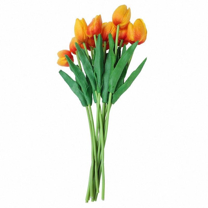 10pcs Tulpe-Blumen-Latex Real Touch für Wedding Bouquet Dekor besten Qualität Blumen (orange Tulpe) HbCC #