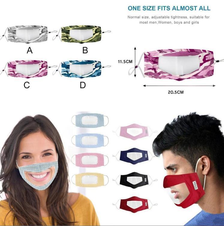 En la mascarilla de labios Idioma camuflaje del polvo anti niebla sordos lectura Boca ventana clara la boca cubierta ajustable FY9152 lavable