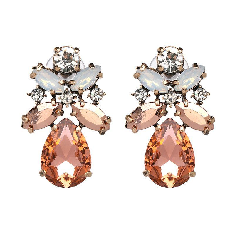 Pendientes Qiaose Primavera nuevo rosa del Rhinestone de cristal para las mujeres Declaración Maxi Collection Pendientes Accesorios