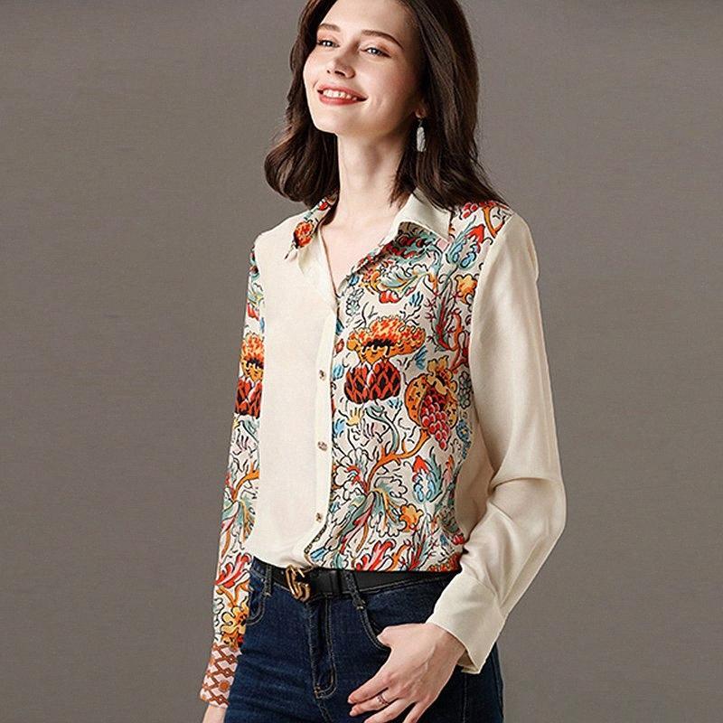 Camicia in seta 100% delle donne asimmetrico del fiore della rappezzatura disegno stampato Gira-giù Collo maniche lunghe Ufficio Top nuovo modo U5sr #