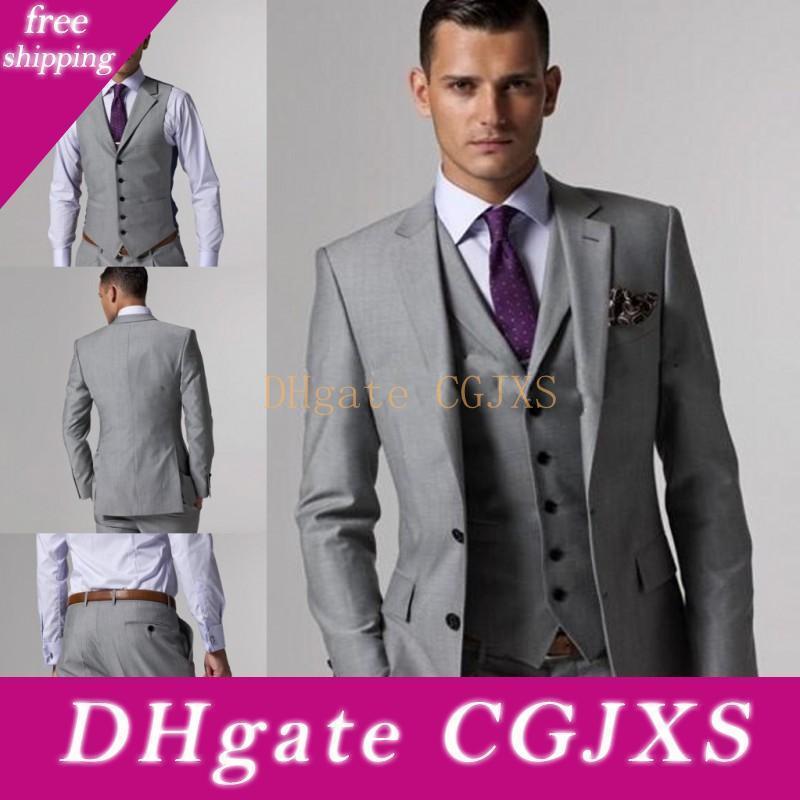 2020 Nova cinzento do casamento do noivo Smoking Jacket (Tie Vest calções) Suits Homens Custom Made terno formal para homens Wedding Bestmen smoking