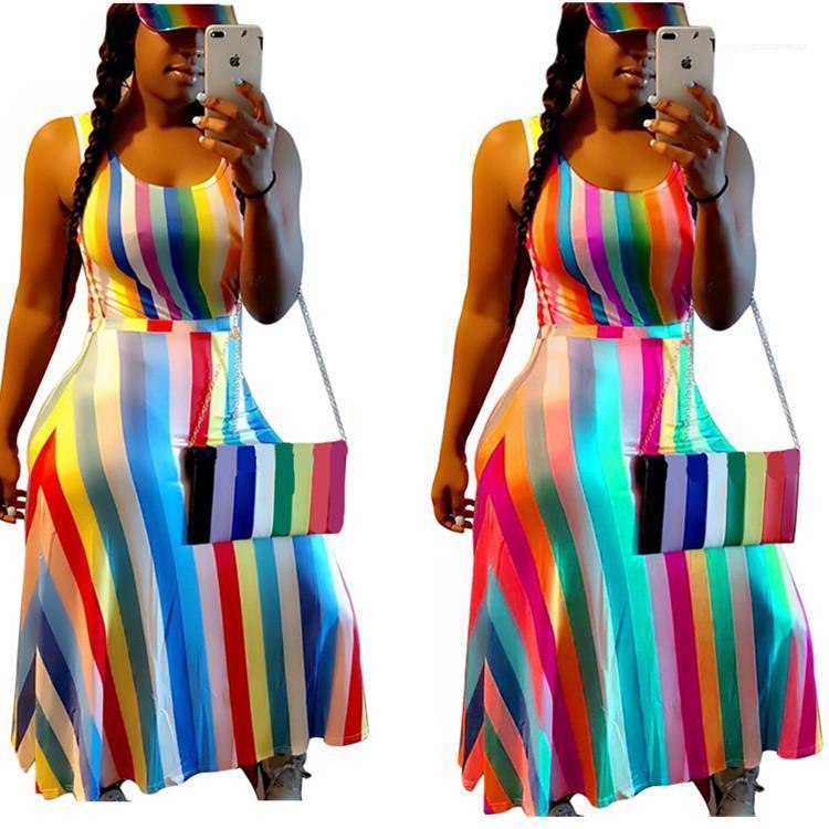 Una línea Maxi vestido sin mangas Vestidos 2020 vestido de verano de rayas de impresión 3D de colores Vestidos de diseño ocasional de las mujeres