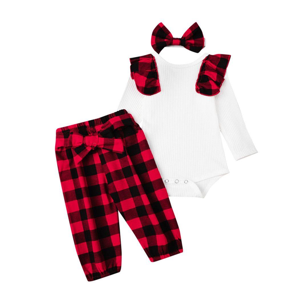 Сборки Новорожденных малышей Детская одежда Ползунки Bodysuit + кальсоны + оголовье Нижнее младенца Девочки Одежда Set