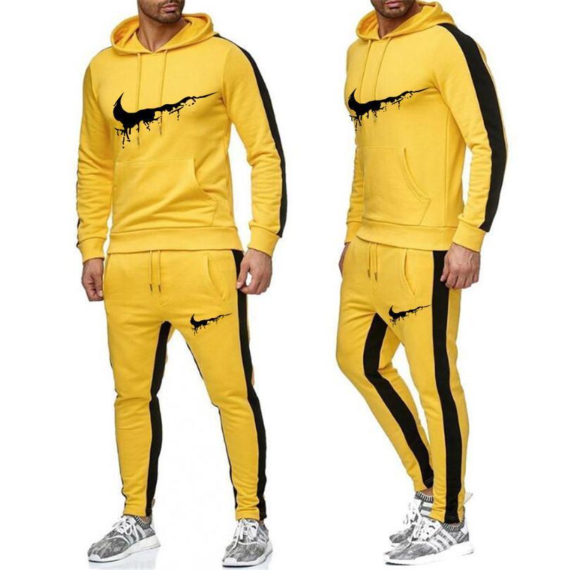Homens Calça Calça de Jogging Suit 2 Pcs Treino Outono Inverno Homens Outfits Sportswear Correndo Sweatsuit soltas Fit Roupa Homens