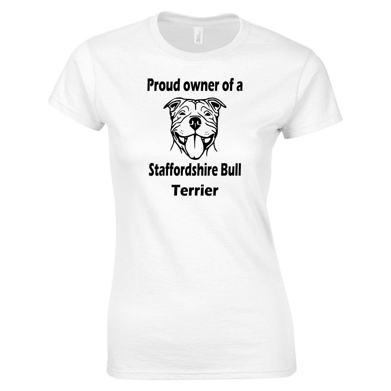 Senhoras Camiseta Proprietário orgulhoso de um Staffordshire bull terrier Camisa fresca homens Casual orgulho t Unisex New forma camisetas partes superiores engraçadas