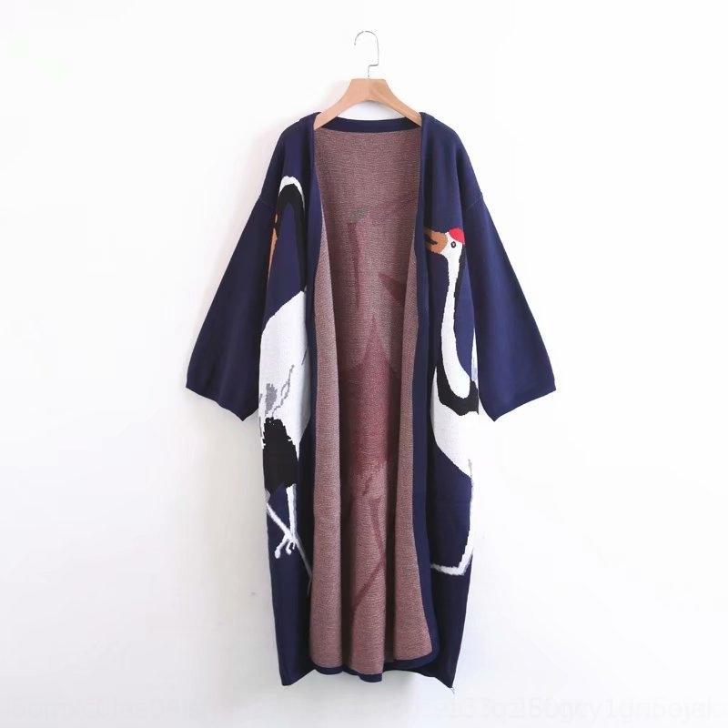 4ngFr M3210-koreanische Frauen Kleidung Pullover Herbst und Winter neuer Mantel langer Kran Pullover Mantel Jacquard 2020 Strickjacke Jacquard für Frauen