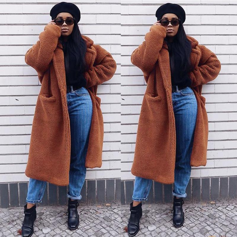 manteau femme kış ceket kadınlar Cep abrigo mujer casaco feminino plaszcze ile Sıcak Katı Renk Ceket Dış Giyim yün ceket