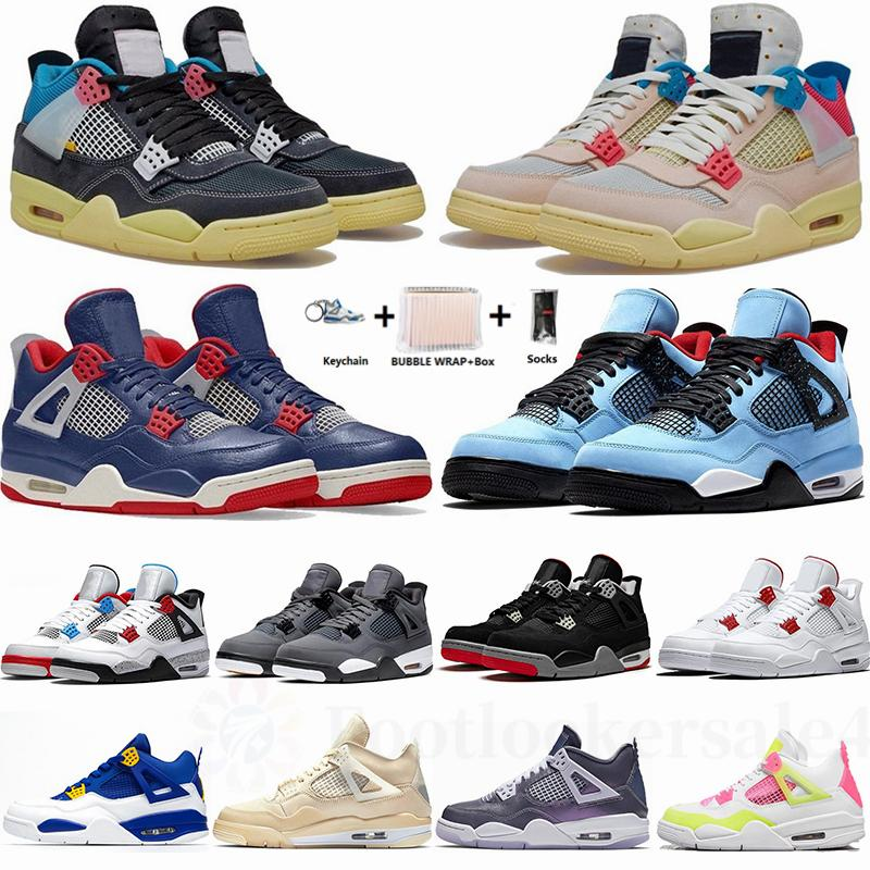 New 2021 Deep Ocean Noir Guava Ice Sail Cactus Jack What The Bred Grey Jumpman 4 4s Mens Basketball Shoes With Box Trainers Sneakers 36-47