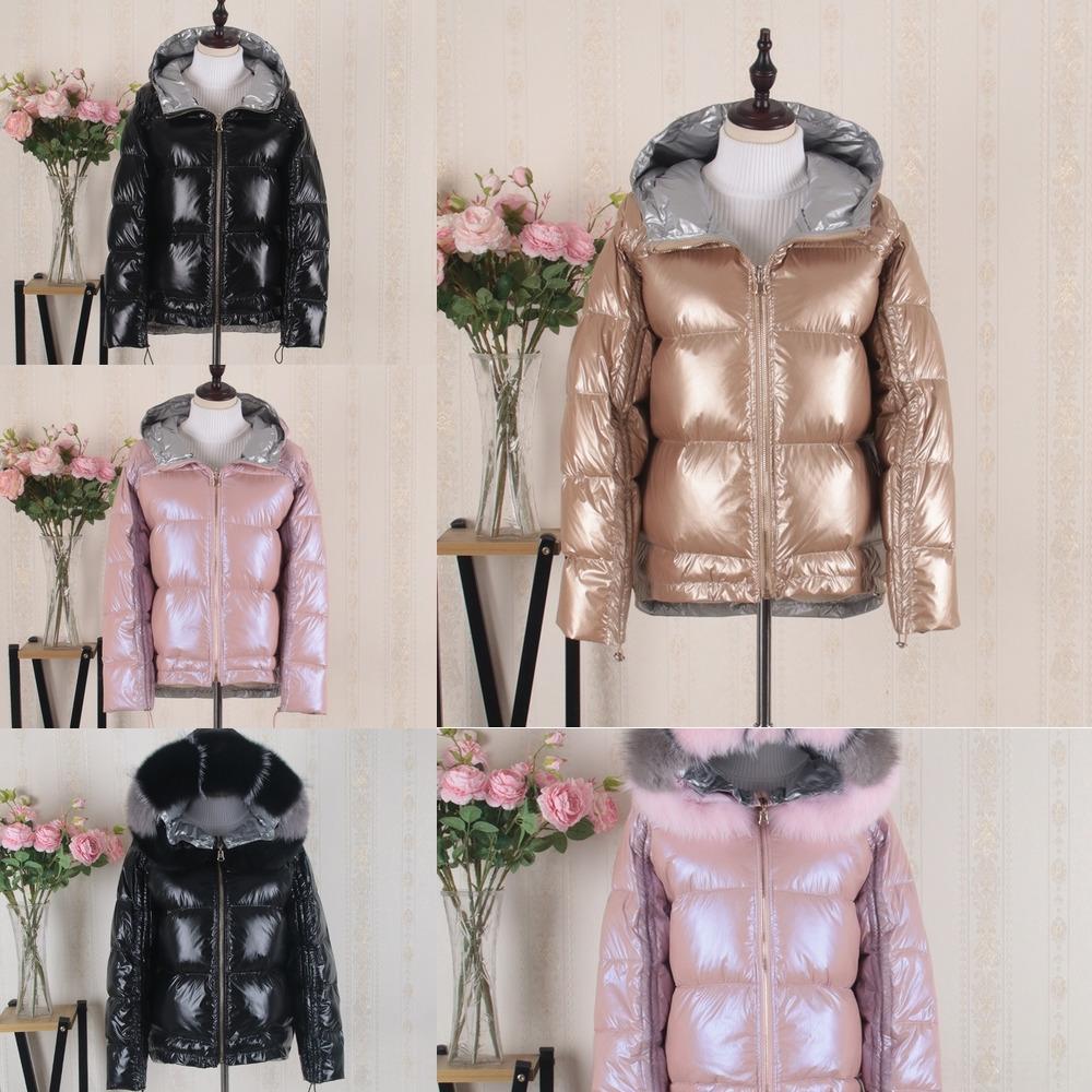qC13I zvGXk 2019 curto engrossado nova gola de pele de raposa desgaste dupla face de linha das mulheres vermelho brilhante prata rosa jaqueta casaco jaqueta larg