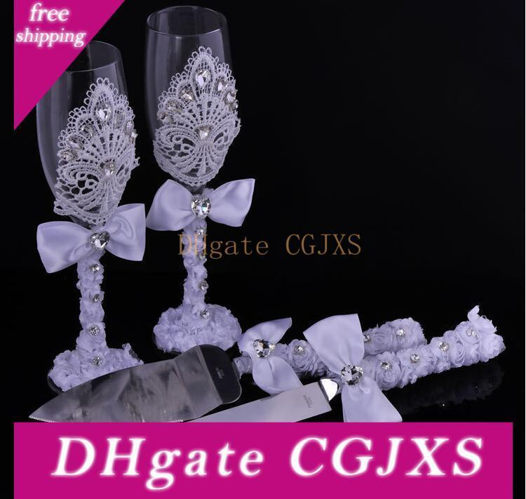 2016 Mariage de luxe 4pcs cadeaux / Set Goblet Diamond Cake Scoop Couteau à gâteau Ensemble Parti décoration personnalisée Favors Fournitures