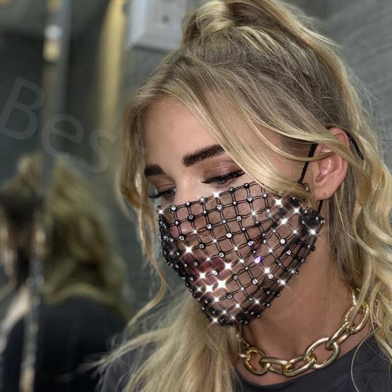 Bling Bling garza Rhinestone diamante di cristallo della maschera riutilizzabile faccia bocca discoteca coperchio adulto maschera progettista YYA485