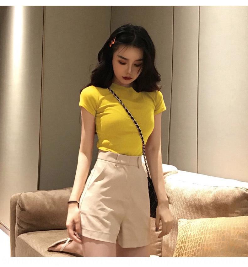 С короткими рукавами женщин лето 2020 новый T- T- корейский стиль тонкий круглый студент шеи сплошной цвет супер горячие ины рубашки база рубашка