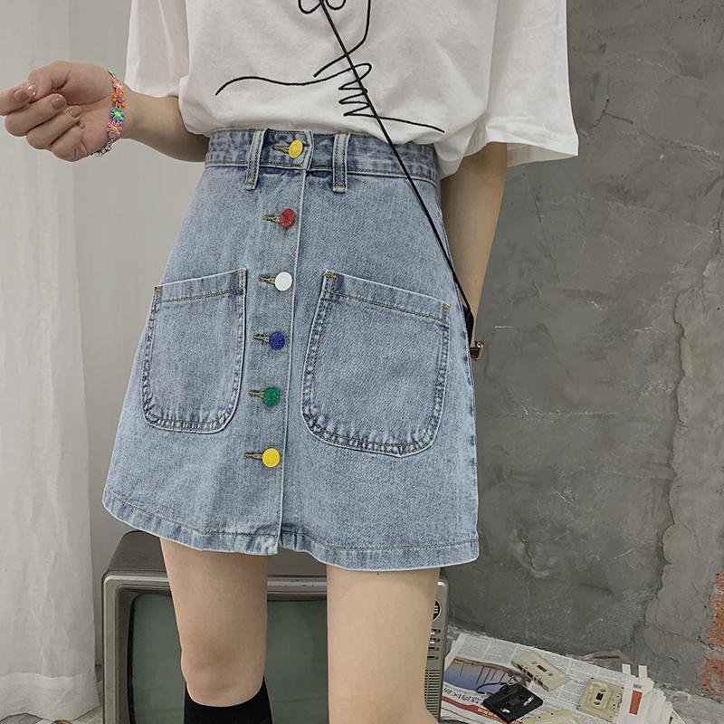 New Summer Street A-boutonnage unique ligne Denim Jupe Pocket Shorts taille haute coréenne Style2020