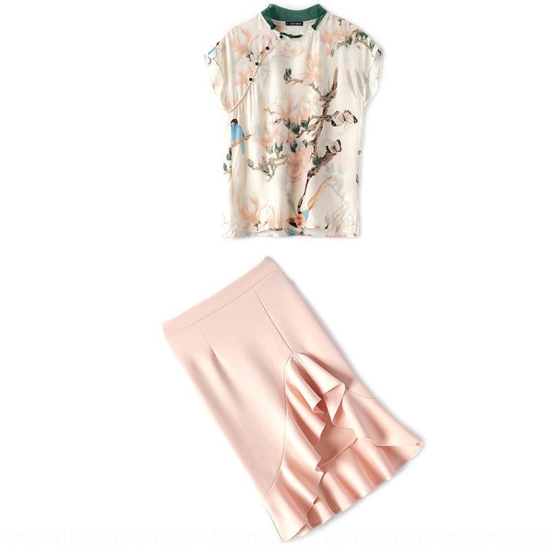 YmeaT été Silkink imprimé dessus + costume irrégulière jupe à volants pour les femmes jupe moitié supérieure 2020 m8OMr nouvelle