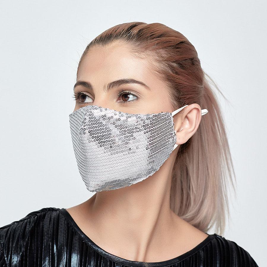 Las máscaras faciales de lentejuelas de Bling Bling Discoteca Club de PM 2.5 Anti-polvo al aire libre ajustable Boca máscara de la máscara facial con filtro Reutilización