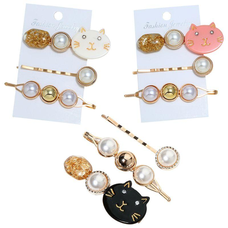 3pcs japonesa Mulheres menina bonito grampo de cabelo do gato Meow Imitação Pérola frisada Hairpin Ouro Tinfoil Sequins Acetato Styling Barrettes