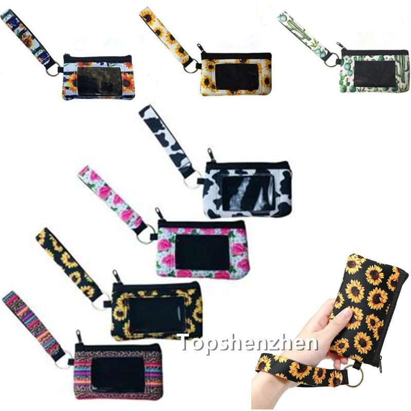 10 مطبوعة عباد الشمس ليوبارد البقرة حامل زهرة متعددة الوظائف النيوبرين جواز السفر بطاقة الهوية الغلاف Wristlets الفاصل عملة المحفظة مع سلسلة المفاتيح