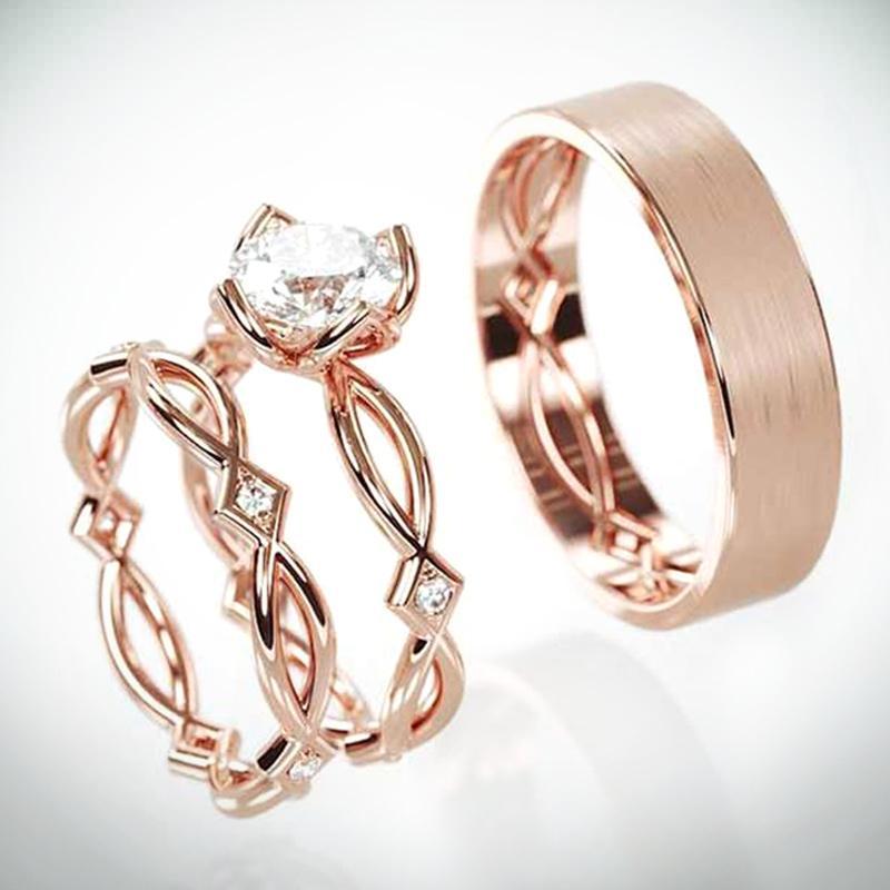 Junerain nuovissimo Venendo 3PC anello da sposa set Rose Gold Series Cirrus Ramoscello modello di progettazione Vendita diretta della fabbrica Anelli di fidanzamento