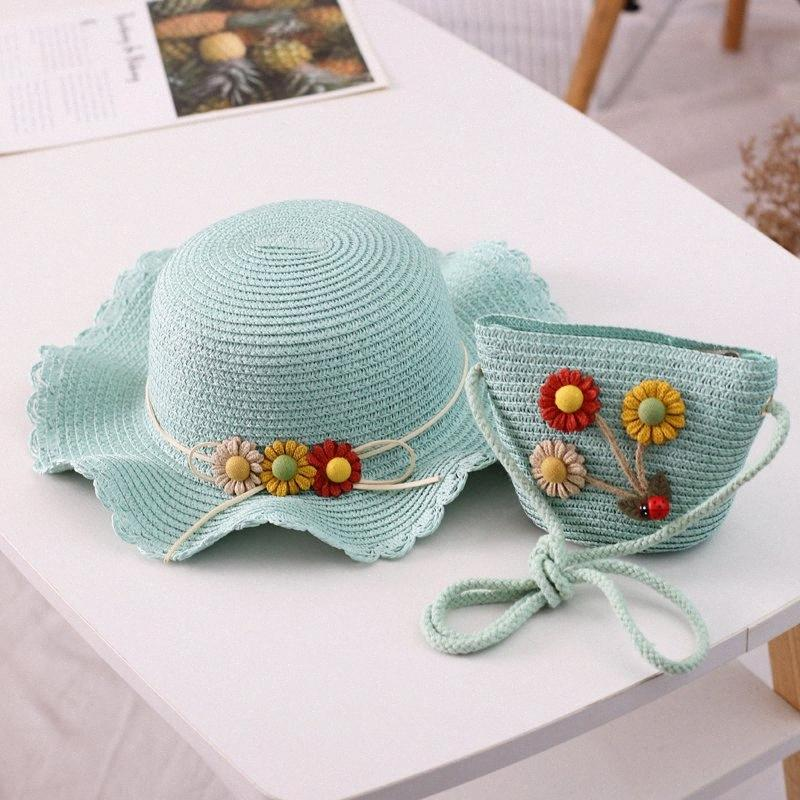 Verão flor 2pcs Chapéu de Palha Com Bolsa para meninas dobrável Chapéu de Sol Bloco Kids Proteção UV Panama Beach Hat óssea M7pU #