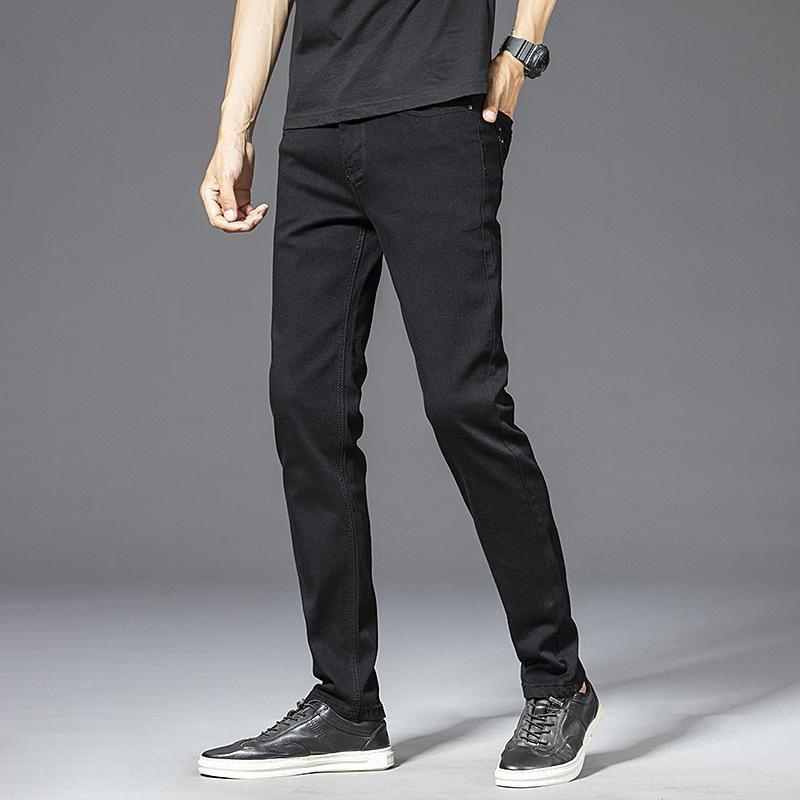 Jeans dWnsV uomini diritto nero 8876 Four Seasons e puri nuovo tratto dei jeans degli uomini britannici di