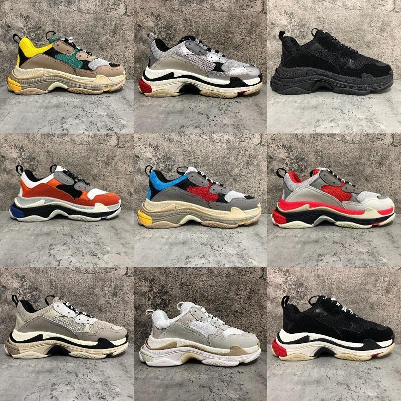 2020 Moda Paris 17FW Triple-S Sneaker Triple S calçados casuais pai para de Homens Mulheres Bege Preto Ceahp Sports Shoes Tamanho 36-45