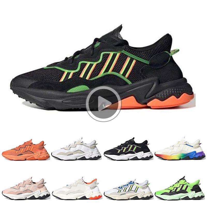 Moda Ozweego calçados casuais das mulheres dos homens Orgulho Reflective Neon Green Solar Yellow Halloween Tones Núcleo Preto Sports Sneakers 36-45 6SZO