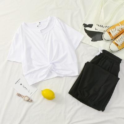 X8N9C lässige Sportkleidung des Sommers neue hohe Taille Nabel Satz Hülsenober Mode breite Beinknöchellangen Hosen zweiteilige kurze Top Hosen und tro