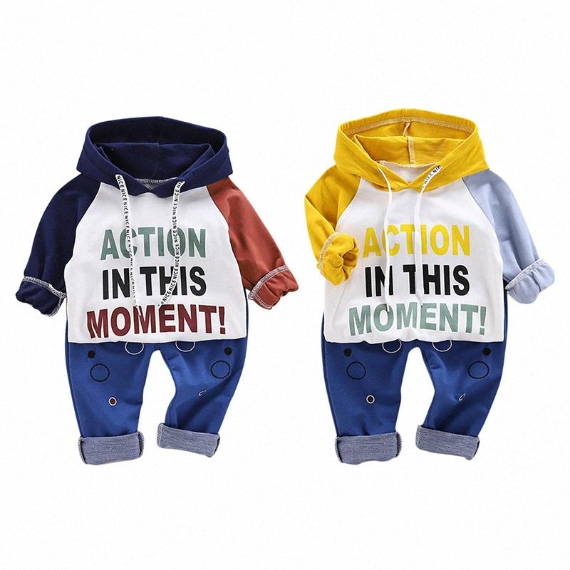 Niño Niña nuevo algodón del otoño del bebé Carta de manga larga con capucha sudadera Imprimir Pantalones Casual Trajes caliente tnct #