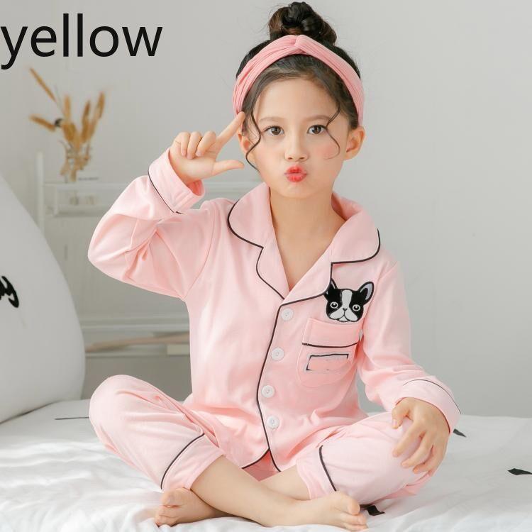 İlkbahar ve sonbahar çocuk çocuklar için uzun kollu pijama takım elbise% 100 cottonSilk kız erkek ev giysileri çocuk pijamaları Tasarımcı