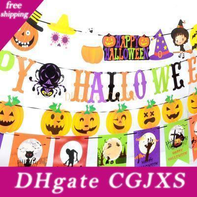 Happy Halloween Pumpkin Флаг Письмо Флаг Тыква висячего Вымпел бумага Вымпела Halloween Diy Украшение для все Фестиваля