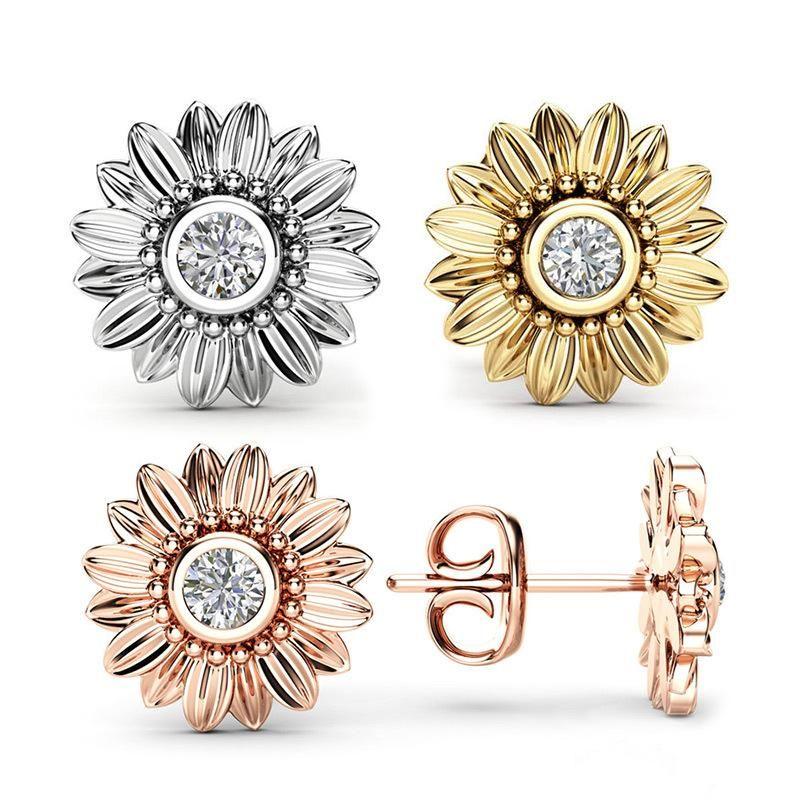 Alla moda di estate Girasole Orecchino Classics zircone cristallo Ear Stud creativa Sun orecchino del fiore gioielli e accessori per le donne