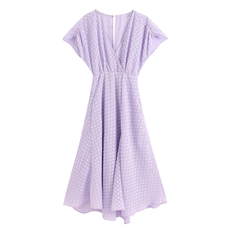 M5110-Wind Женские 2020 Летний новый V-образный вырез полька текстурой короткий рукав миди платья M5110-Wind Женская одежда 2020 Летняя одежда новый V-н