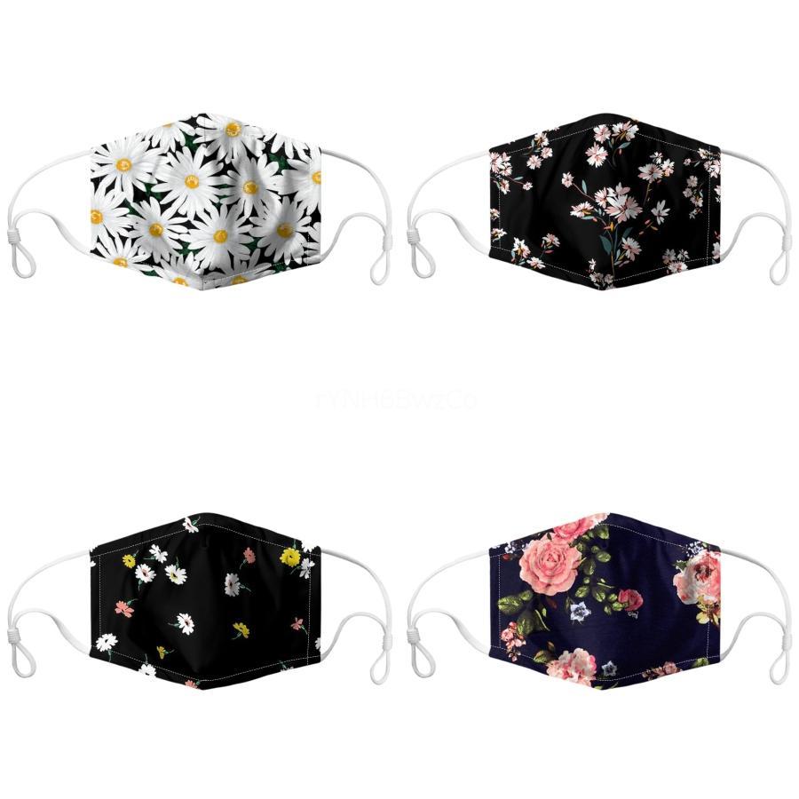 Waschbare Gesichtsmaske Blumen Drucke Anti Spittle Splash Sun Uv Prection Mundmaske Mascherine Staub-Beweis Respirator # 699