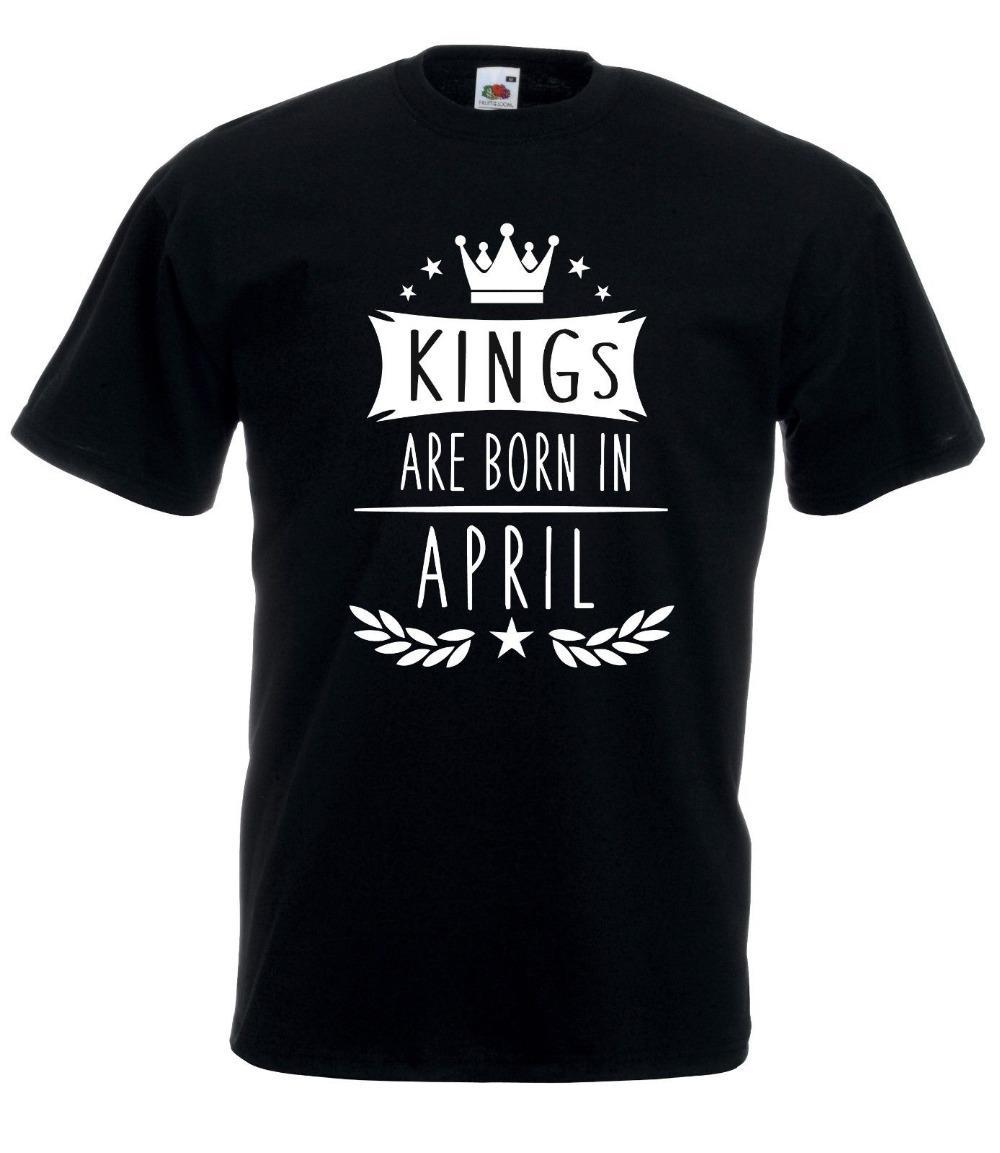 s 2019 Nova Alta Qualidade Camiseta T-shirt Maglietta Rei' são nascidos em abril Nato Aprile Idea Regalo T-shirt Verão Cotton