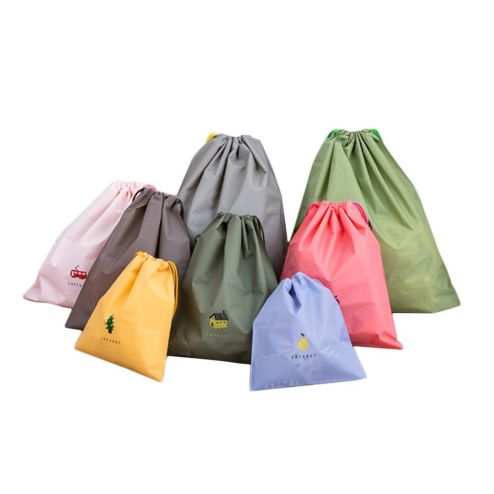 8pcs S/M/L Colorful Storage Bag Cartoon Dustproof Travel Drawstring Organizers