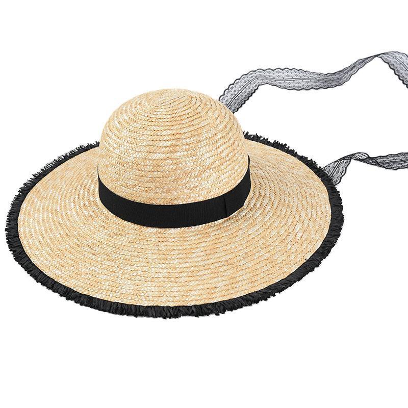 mujeres USPOP paja de trigo natural, sombreros negros los bordes ásperos con cordones de sol sombreros de ala ancha playa de cinta de encaje sombrero femenino del verano