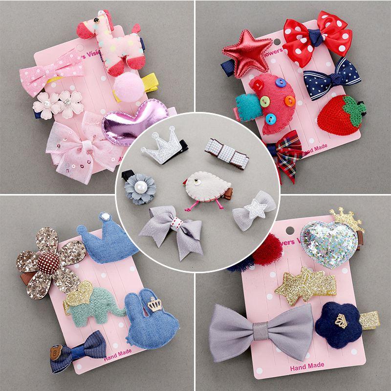 5-6pcs Blumen Kopfbedeckung Set Clips Cartoon Haarnadeln Kinder-Tier Stoff Rosa Haarschmuck Haarspangen für Mädchen Prinzessin