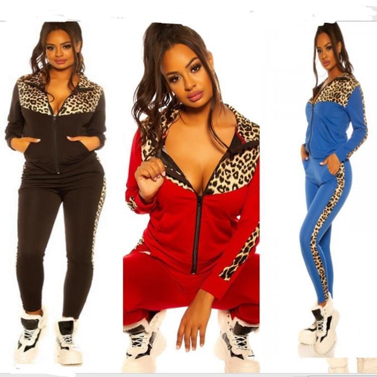 النساء رياضية المرقعة المصممين الملابس ليوبارد طباعة كم طويل سترة انغلق معطف سترة سروال اللباس عارضة E82604 البدلة الرياضية
